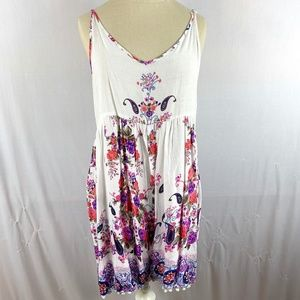 Floral romper paisley pink purple white sleeveless